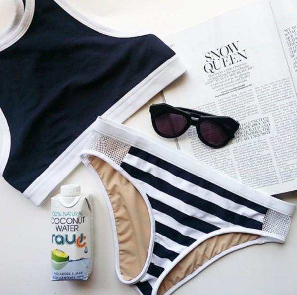 swimwear bikini bikini top bikini bottoms crop tops coconut navy stripes mesh sportive sunglasses earphones t-shirt underwear triangl swimear white black swimwear
