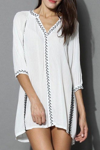 dress flowy white summer fashion style casual embroidered