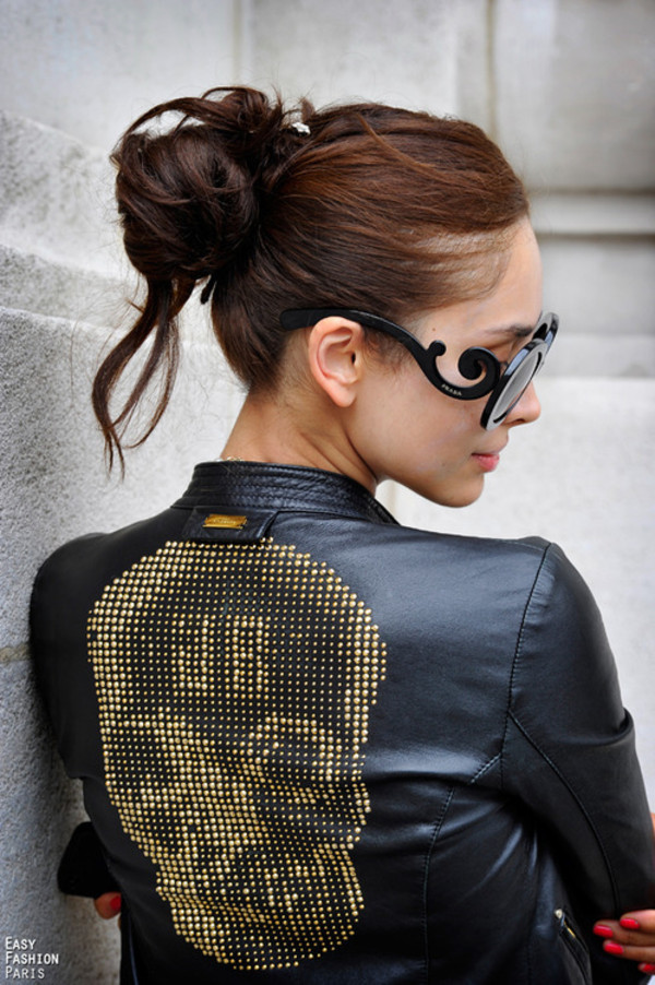 jacket leather jacket leather spiked leather jacket skull gold gold sequins black