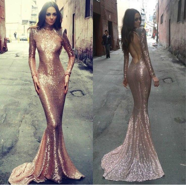 f6367206cb29 2016 Rose Gold Evening Gowns Prom Dress With Long Sleeves Sexy Mermaid With  High Neck Blingbling ...