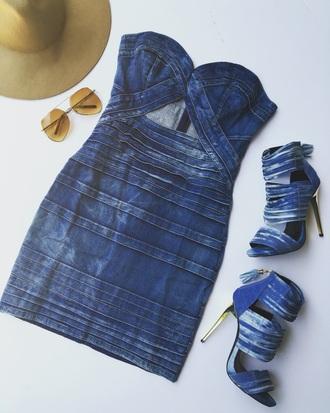 dress mini dress sandals denim denim dress strappy heels strapless blue