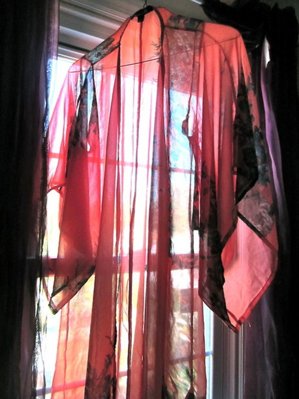 floral chiffon blouse kimono robe see through vintage boho bohemian chic maxi