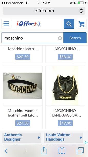 bag belt designer fashion style moschino moschino black gold belt