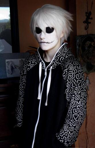 jacket clothes hoodie tumblr instagram geheichou black white shapes different sleeves zip sweatshirt black and white long sleeves cosplay make-up