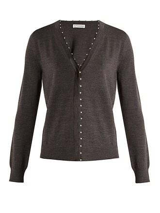 cardigan pearl embellished wool dark grey sweater
