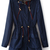 Navy Hooded Long Sleeve Drawstring Trench Coat - Sheinside.com