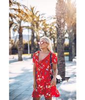 dress,tumblr,red dress,ruffle,ruffle dress,wrap dress,floral,floral dress,v neck,sunglasses,cat eye
