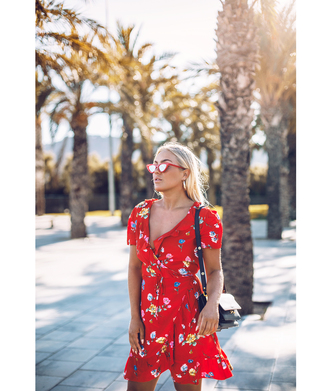 dress tumblr red dress ruffle ruffle dress wrap dress floral floral dress v neck sunglasses cat eye
