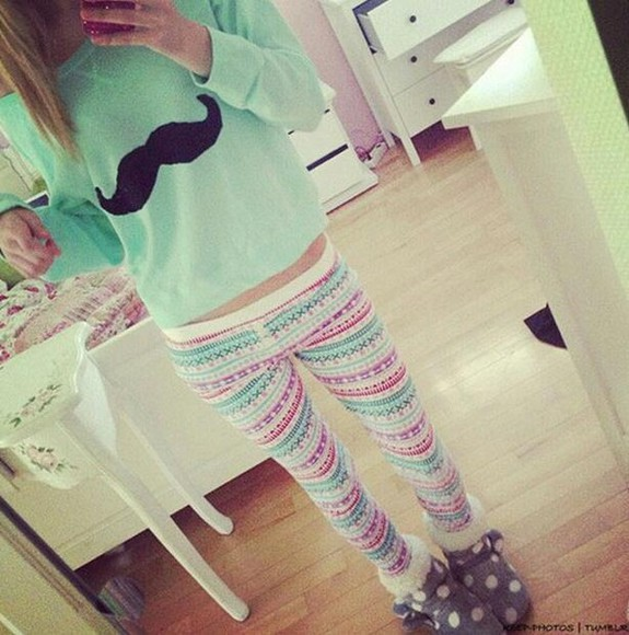 sweater leggings moustache moustache sweater vêtement pull & legging aztec mustache boots polka dots house shoes shoes pants shirt printed leggings pink pastel pajamas hat blouse long sleeve leggings aztec shorts