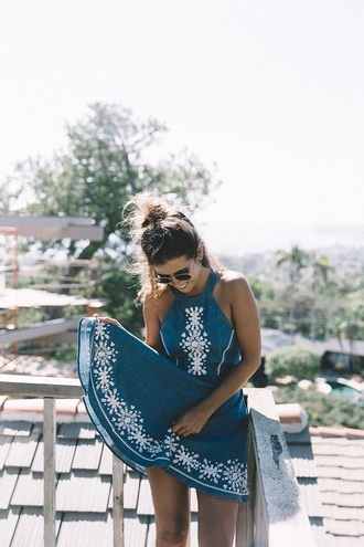 dress navy embroidered dress embroidered white embroidered love retro summer cute cute dress blue floral halter top summer dress pretty teal teal dress white boho dress high neck style stylish blue dress halter dress pattern halter neck