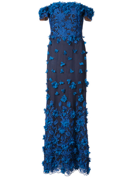 Marchesa Notte gown embroidered off the shoulder women blue dress