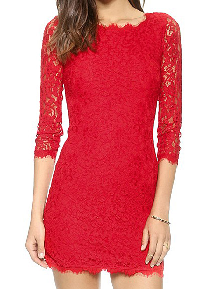 Red embroidery lace 3/4 sleeve zip back short sheath dress