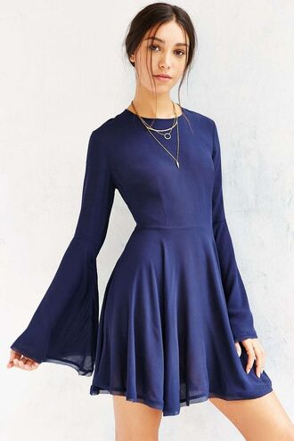 dress bell sleeve dress bell sleeves blue dress mini dress short dress long sleeves fall dress necklace