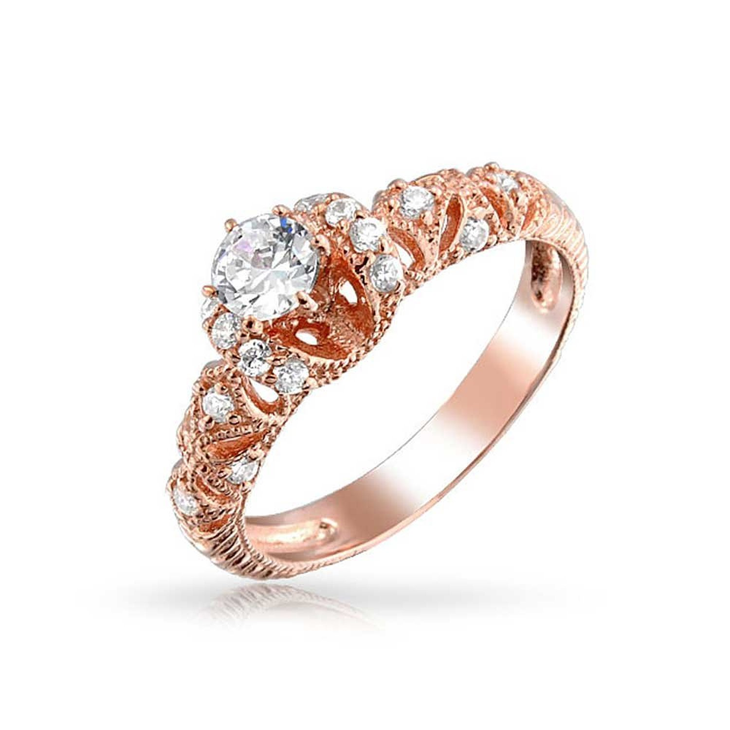 Amazon.com: Bling Jewelry Filigree Art Deco Rose Gold Vermeil Engagement Ring 925 Silver: Jewelry