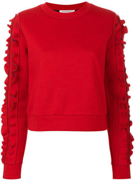 Philosophy Di Lorenzo Serafini - frill trim sweatshirt - women - Cotton/Polyurethane - 38, Red, Cotton/Polyurethane