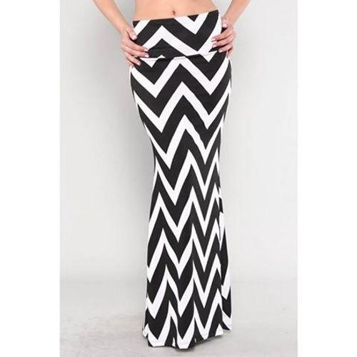 Womens Maxi Skirt Long Length Chevron Print Black White Fold Over ...