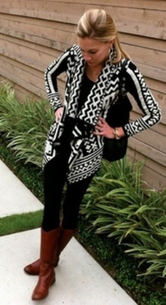 sweater tribal cardigan aztec aztec print black and white