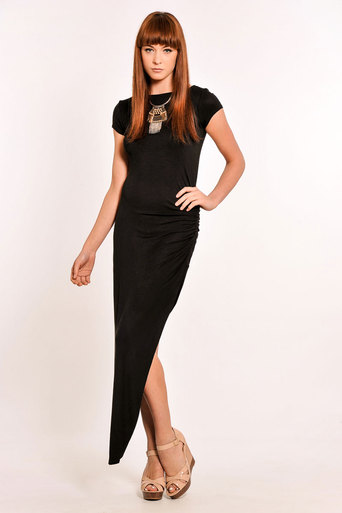 Womens Edalene Ruched Side Split Maxi Dress in Black | Pop Couture