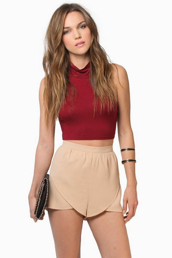 shorts hhhh tank top clothes red crop tops top High waisted shorts beige fashion