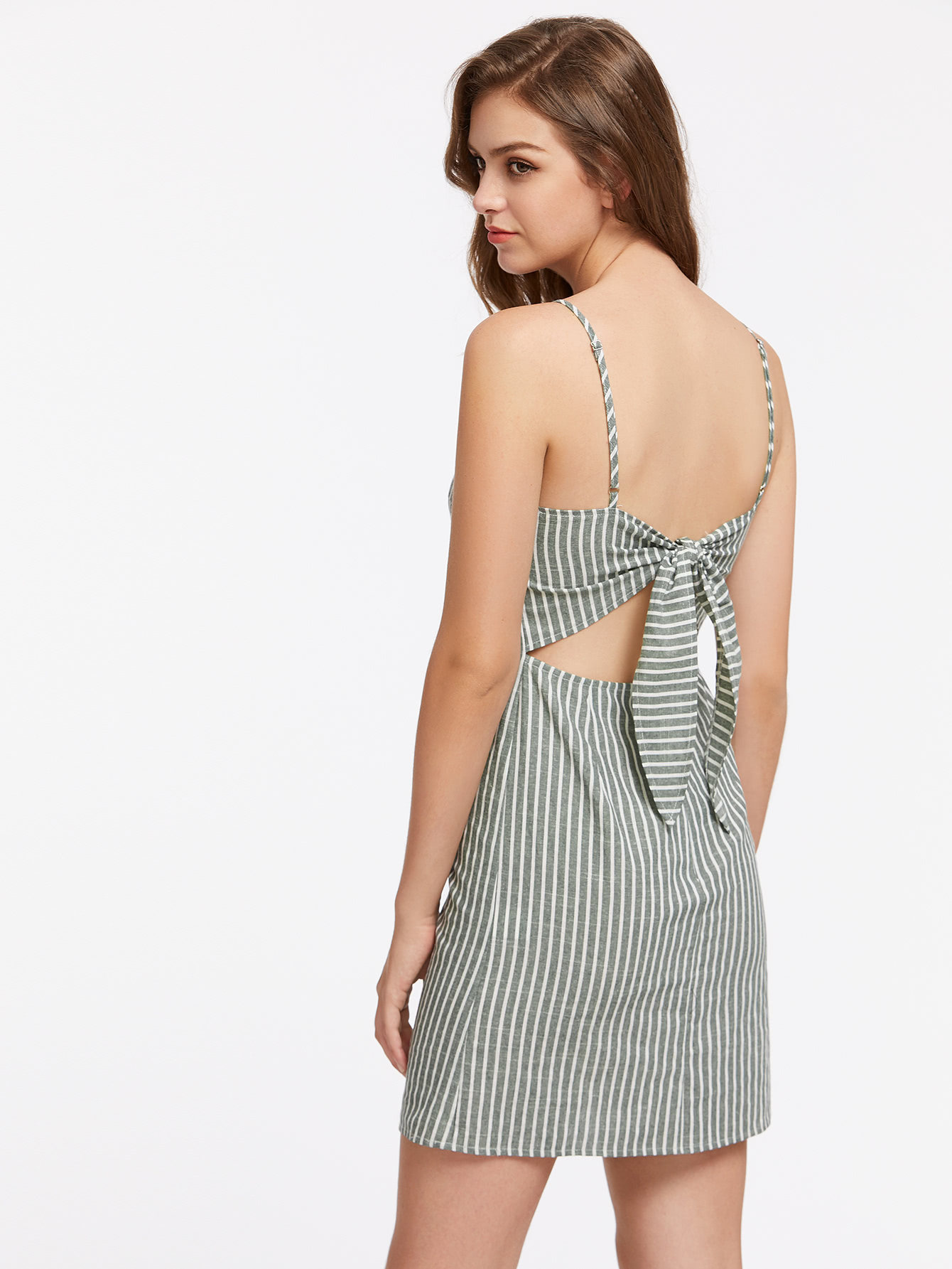 08266856a70b Knot Open Back Pinstripe Cami Dress -SheIn(Sheinside)