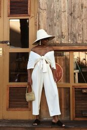 hat,white hat,top,white,pants,two-piece