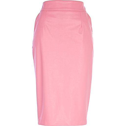 pink leather look pencil skirt pencil skirts