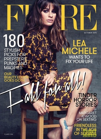 dress editorial lea michele floral floral dress mustard michael kors fall dress three-quarter sleeves