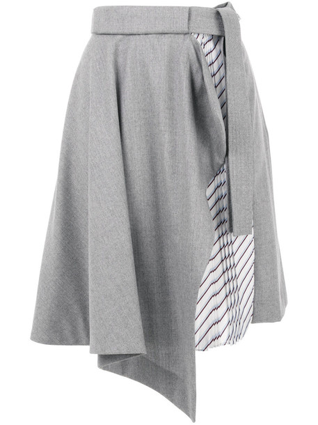 skirt women silk wool grey