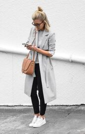 coat,grey,trench coat,white,sneakers,black,slim pants,leather bag,blonde hair,summer,spring,outfit,street,style