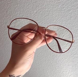 sunglasses glasses metal frame clear glasses brownish goldish golden brown