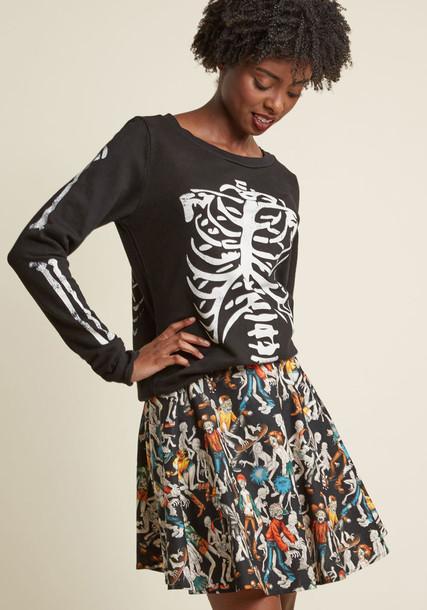 F8022K pullover sweatshirt back skeleton comfy cotton print black sweater
