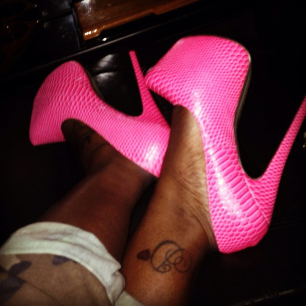 shoes pink high high heel bright