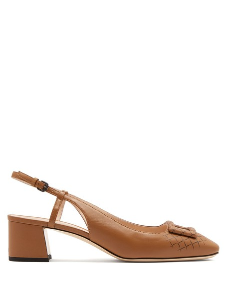 Bottega Veneta pumps leather camel shoes