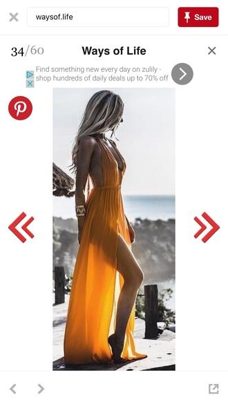 dress mustard dress see through dress beach dress backless