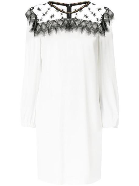Cavalli Class dress women lace white cotton silk