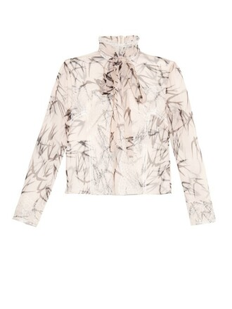 blouse chiffon lace print silk cream top