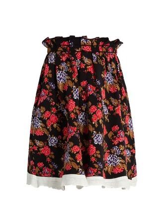 skirt pleated skirt pleated jacquard floral black