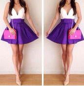 dress,skater skirt,top,plunge neckline,deep v dress,deep plunge,long sleeves,rotita,sexy,blue,white,blue skirt,blue dress,crop tops,white crop tops,white  sexy  plunging  v-neck  long  sleeve  stitching  mini  bowknot  dress,bag,purple dress,purple,fashion,style,skirt,cute,bow,trendy,rose wholesale-feb