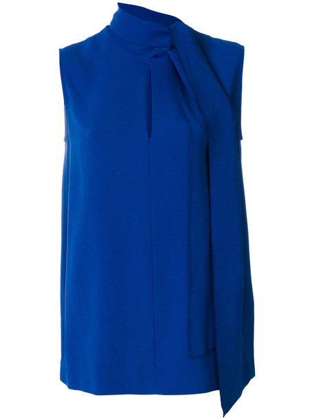 Joseph blouse bow sleeveless women spandex blue top
