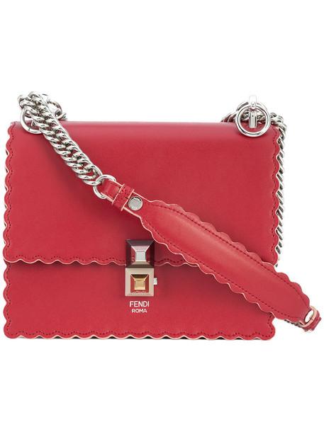 Fendi women bag crossbody bag leather red