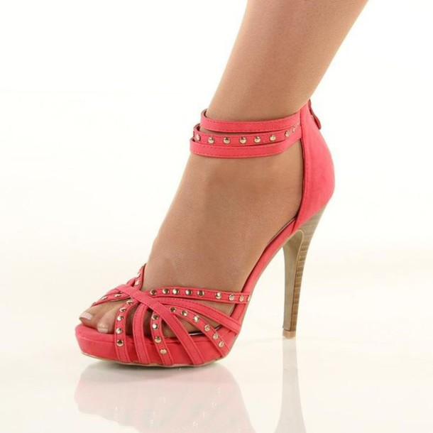 shoes coral shoes heels