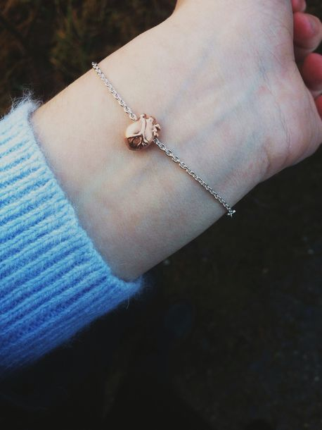 Jewels: heart, bralette, heart rose gold bracelet, ladybug ...
