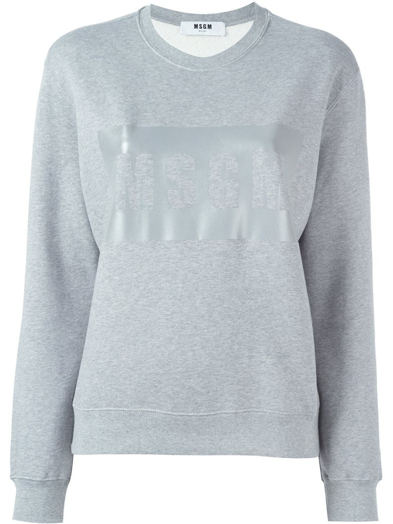 MSGM logo print sweatshirt, Women's, Size: Large, Grey, Cotton/Viscose
