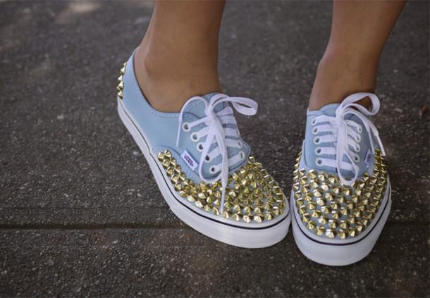 07350a92d55ff1 shoes, studs, baby blue, vans, vans - Wheretoget