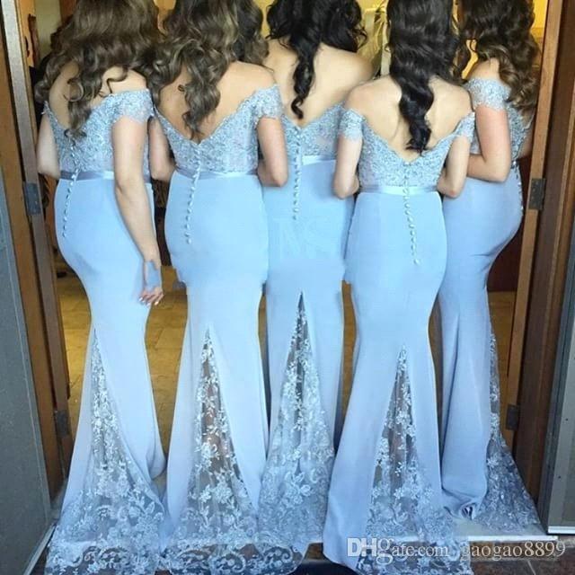 2e59d7cbb8 2016 Cap Sleeve Light Blue Lilac Bridesmaid Dresses Long Mermaid Chiffon Lace  Prom Party Dresses Button ...