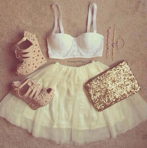 skirt shoes tutu tutu skirt high heels white skirts cream skirt skater skirt short skirt bralet white bralette gold gold chain cream heels wedges white wedges blouse bag
