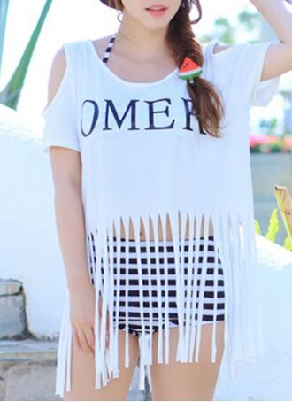 top white fashion style trendy sexy scoop neck letter and stripe print three-piece swimsuit for women summer rg
