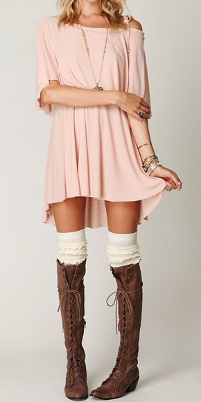 pink dress over the shoulder shorts fashion pastel dress fall dress dress off the shoulder dress t-shirt dress shoes underwear sweet blonde hair nice jewels socks brown boho hippie boots blouse pink nude over the shoulder dress knee-high boots high boot brown boots with studs