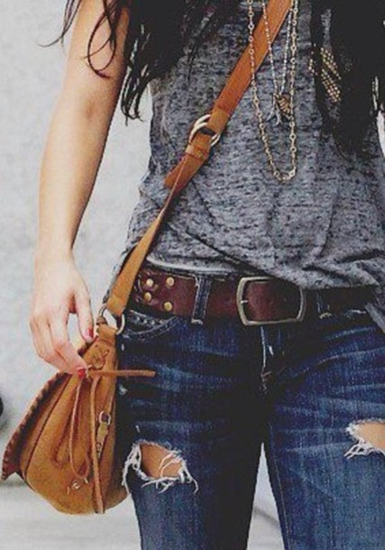 bag brown belt coffee shirt jeans & shirt t-shirt t-shirt ripped jeans cute bags school bag tote bag