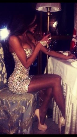 dress short white sparkle
